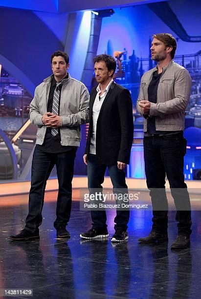 Jason Biggs Pablo Motos and Seann Willian Scott attend 'El Hormiguero' Tv Show at Vertice Studios on May 3 2012 in Madrid Spain