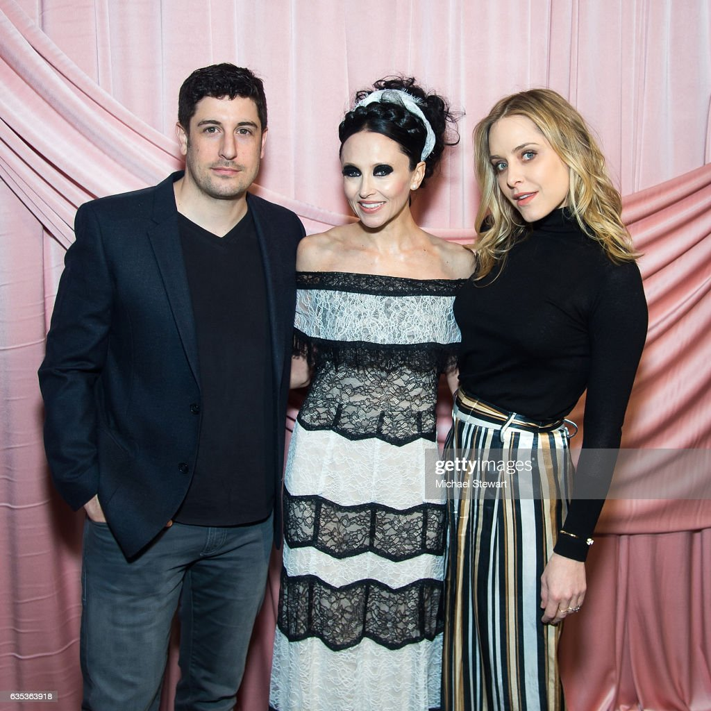Jason Biggs, Stacey Bendet and Jenny Mollen attend the Alice + Olivia by Stacey Bendet presentation during February 2017 New York Fashion Week at Highline Stages on February 14, 2017 in New York City.