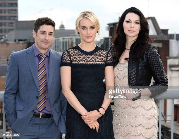 Jason Biggs Taylor Schilling and Laura Prepon attend a photocall to launch season 2 of the Netflix exclusive series 'Orange Is The New Black' at Soho...