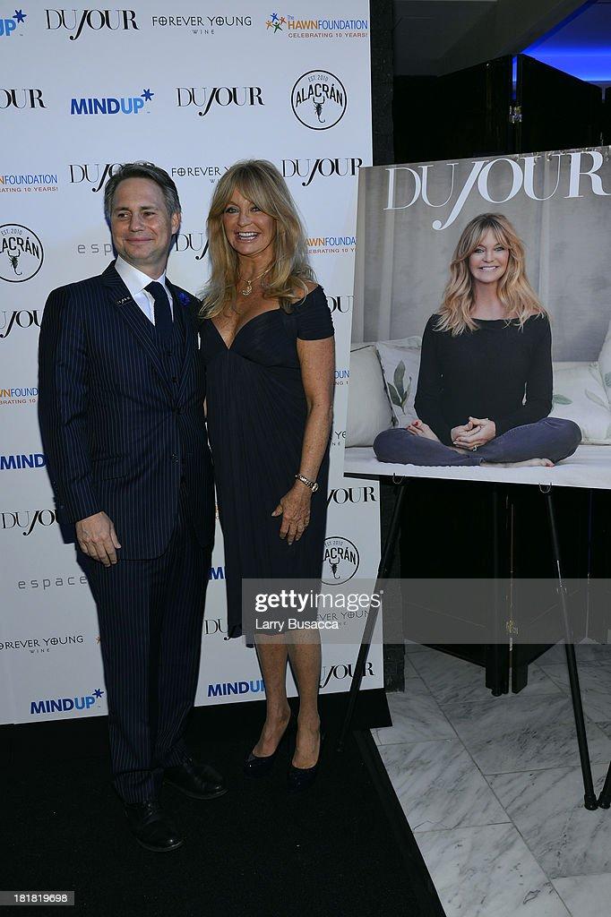 Jason Binn and actress Goldie Hawn attend DuJour's Jason Binn and Kurt Russell's celebration of Goldie Hawn and The Hawn Foundation at Espace on September 25, 2013 in New York City.