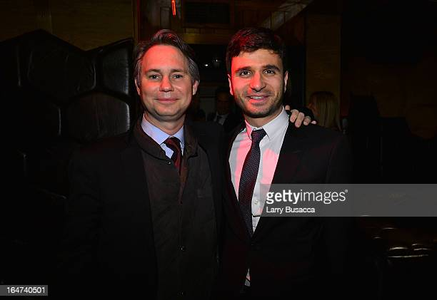 Jason Binn and guest attend the DuJour Magazine Spring 2013 Issue Celebration at The Darby on March 27 2013 in New York City