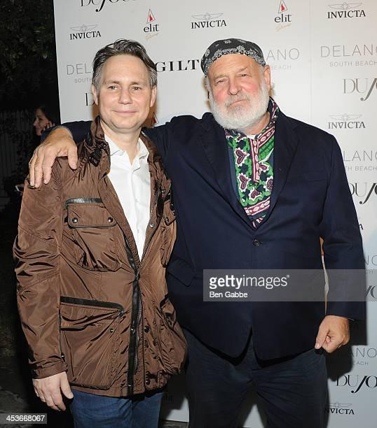 Jason Binn and photographer Bruce Weber attend DuJour Magazine's event to honor artist Marc Quinn at Delano South Beach Club on December 4 2013 in...