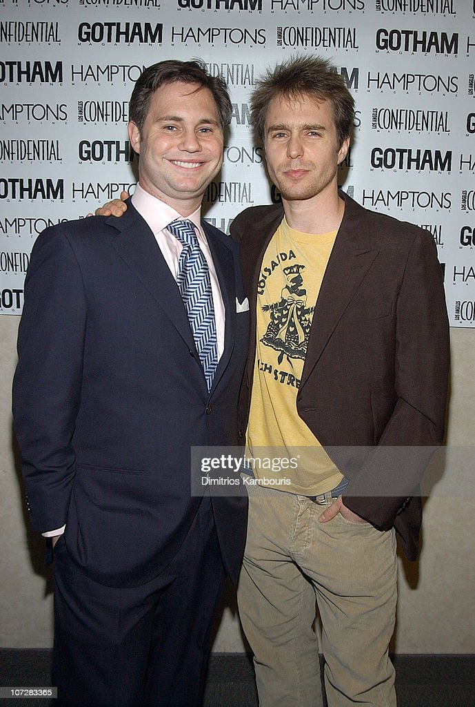 Jason Binn and Sam Rockwell during 1st Annual LAByrinth Theater Company Celebrity Charades Benefit presented by Gotham and LA Confidential Magazine at Daryl Roth Theater in New York City, New York, United States.