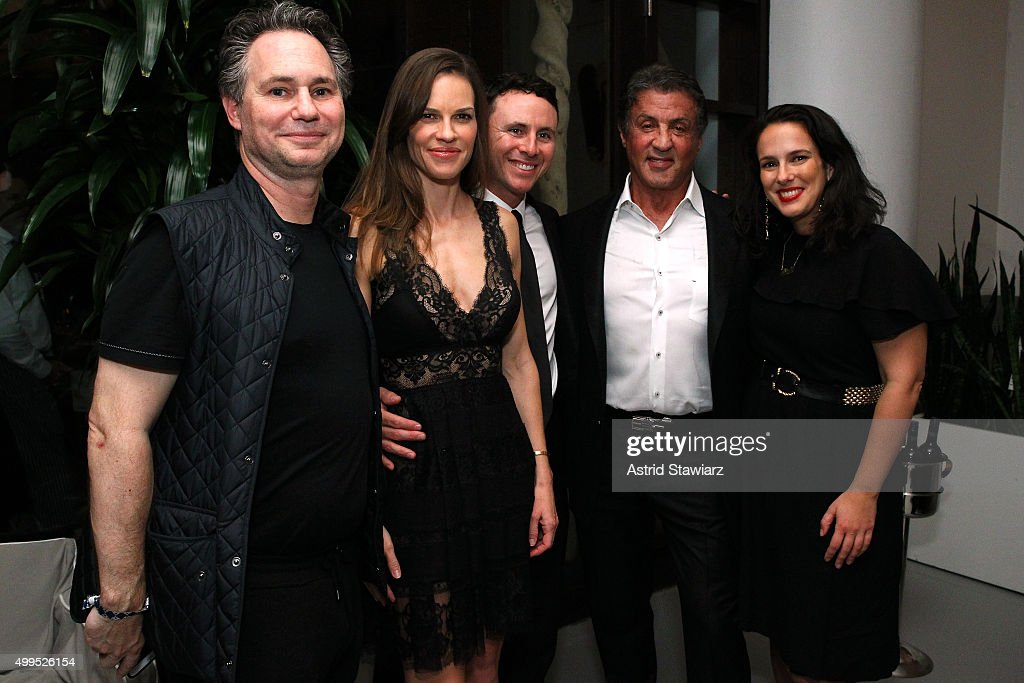 Jason Binn, Hilary Swank, Ruben Torres, Sylvester Stallone and Nicole Vecchiarelli attend DuJour Magazine's Jason Binn Celebrates Annual Art Basel Miami Beach Kick-Off Party presented by Blackberry PRIV & 50 Bleu at Delano Beach Club on December 1, 2015 in Miami Beach, Florida.