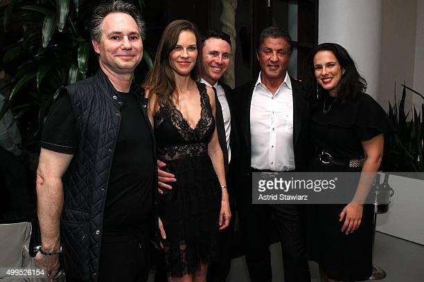 Jason Binn Hilary Swank Ruben Torres Sylvester Stallone and Nicole Vecchiarelli attend DuJour Magazine's Jason Binn Celebrates Annual Art Basel Miami...