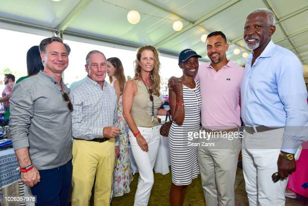 Jason Binn Michael Bloomberg Alex Lerner B Smith Ian Conyers and Dan Gatsby attend the Hampton Classic Grand Prix 2018 at Hampton Classic Horse Show...