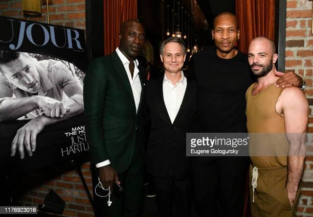 Jason Binn, Oswald Boateng, Bruce Reynolds, and Adam Dyer attend the DuJour Media And Jason Binn Celebration of October Cover Star Justin Hartley at...