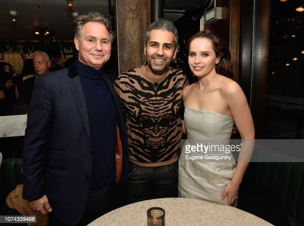 Jason Binn Sanjay Hathiramani and Felicity Jones attend as DuJour cover star Felicity Jones celebrates their winter issue with CEO and Founder Jason...