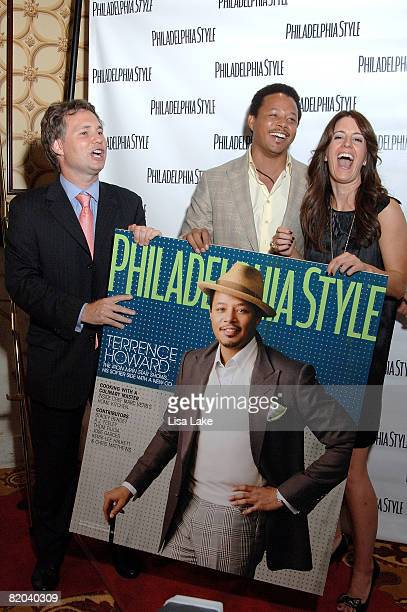 Jason Binn Terrence Howard and Sarah Schaffer attend Philadelphia Style Magazine Summer Issue Launch Party on July 22 2008 in Philadelphia...