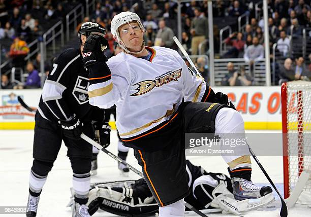 Jason Blake of the Anaheim Ducks celebrates after scoring a goal against Jonathan Quick of the Los Angeles Kings during the period of the NHL hockey...