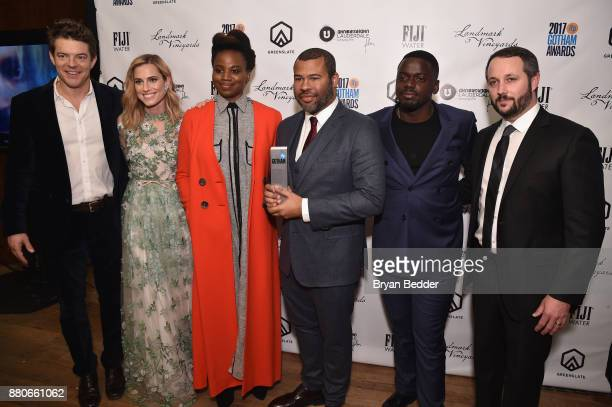 Jason Blum Allison Williams Dee Rees Jordan Peele Daniel Kaluuya and Sean McKittrick pose with the Best Screenplay award at The 2017 IFP Gotham...