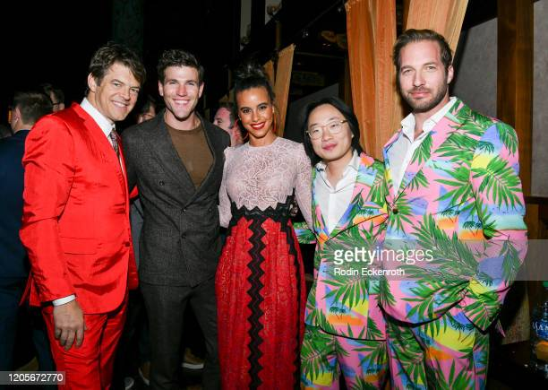 Jason Blum Jeff Wadlow Parisa FitzHenley Jimmy O Yang and Ryan Hansen pose for portrait at the premiere of Columbia Pictures' Blumhouse's Fantasy...