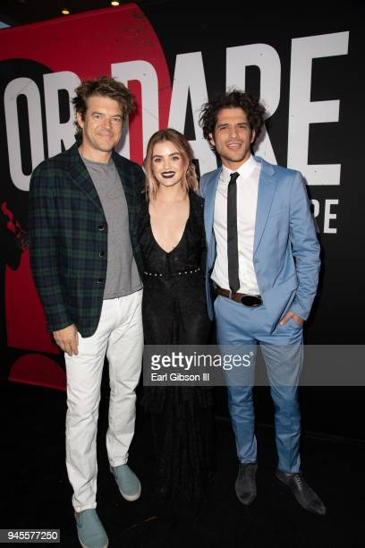 Jason Blum Lucy Hale and Tyler Posey attend the premiere of Universal Pictures 'Blumhouse's Truth Or Dare' at ArcLight Cinemas Cinerama Dome on April...