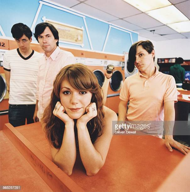 Jason Boesel Pierre de Reeder Jenny Lewis and Blake Sennett of Rilo Kiley in Los Angeles California United States May 2006