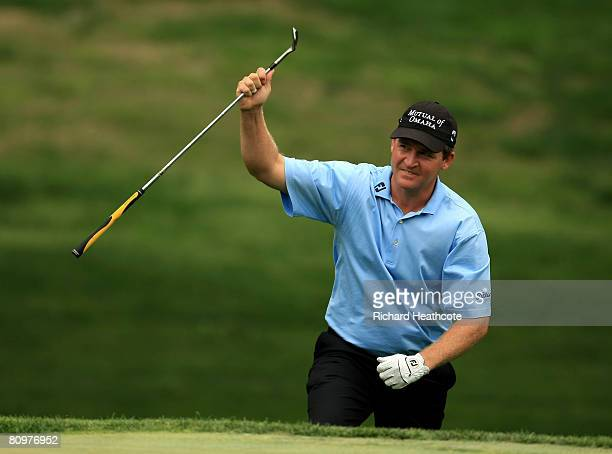 Jason Bohn celebrates pitching in for birdie on the 3rd during the third round of the Wachovia Championship at Quail Hollow Country Club on May 3...