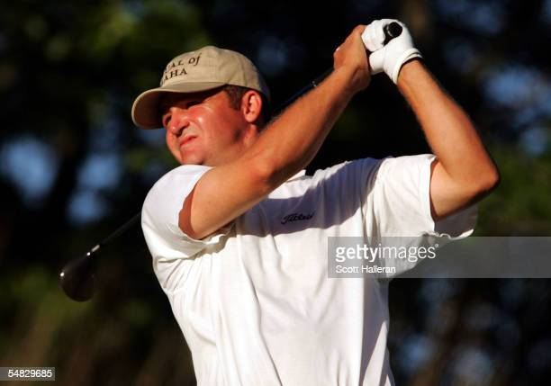 Jason Bohn hits his tee shot on the 17th hole during the final round of the Deutsche Bank Championship at the TPC of Boston on September 5, 2005 in...