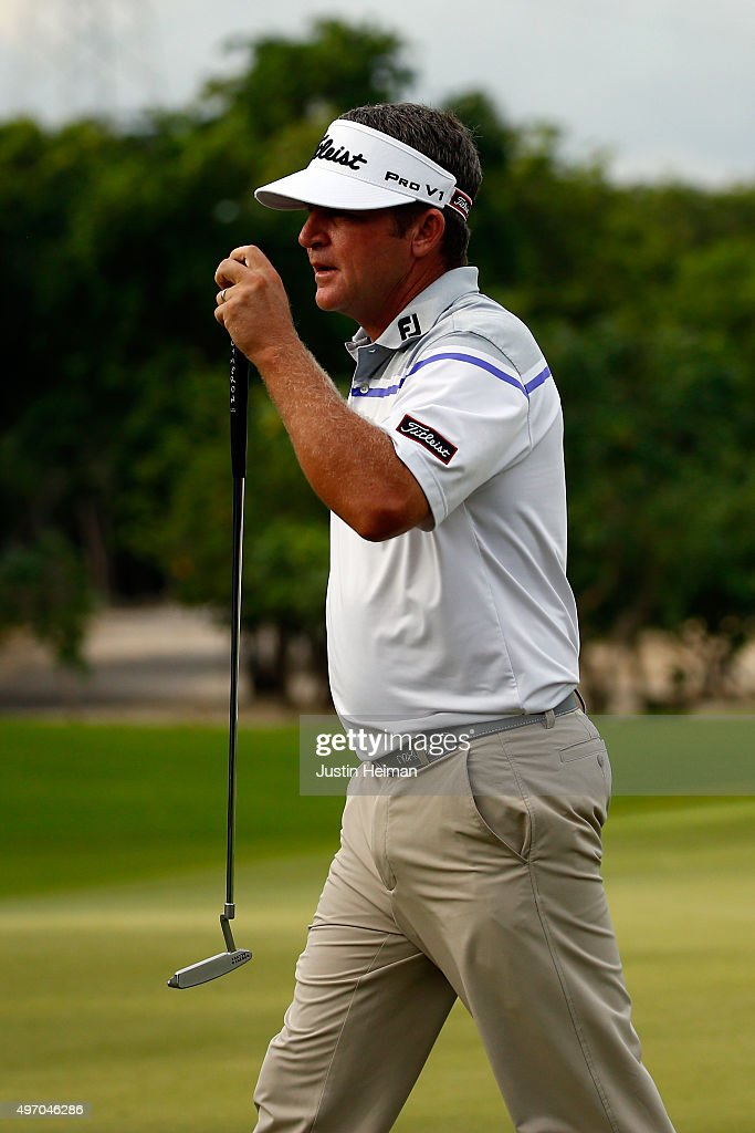 Jason Bohn of the United States reacts after putting on the 9th hole green during the second round of the OHL Classic at the Mayakoba El Camaleon Golf Club on November 13, 2015 in Playa del Carmen, Mexico.