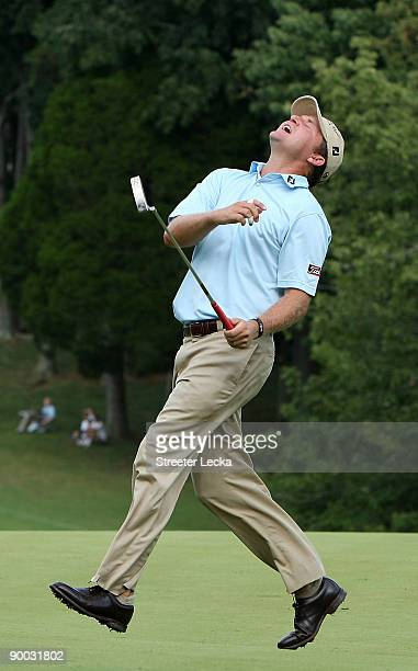 Jason Bohn reacts to missing a putt on the 18th hole during the final round of the Wyndham Championship at Sedgefield Country Club on August 23, 2009...