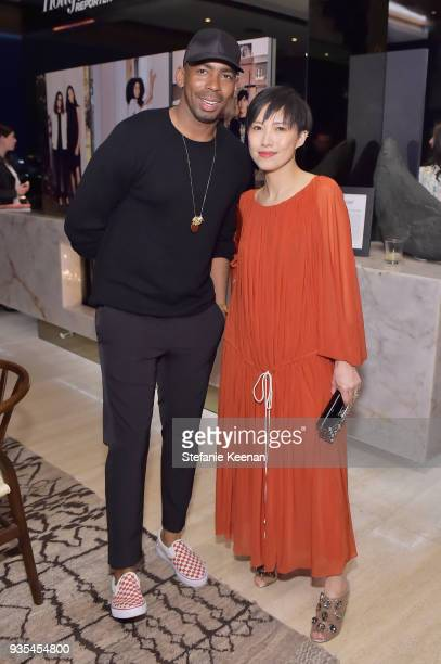 Jason Bolden and Jimmy Choo Creative Director Sandra Choi attend The Hollywood Reporter and Jimmy Choo Power Stylists Dinner on March 20 2018 in Los...