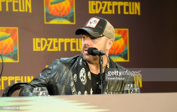 Jason Bonham speaks at Led Zeppelin Celebration Day Press Conference on October 9 2012 in New York City Led Zeppelin's John Paul Jones Jimmy Page and...