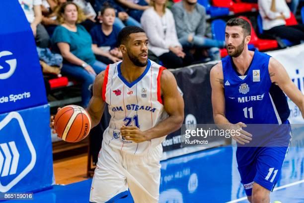 Jason Boone and Alin Borsa during the LNBM Men's National Basketball League game between CSM Steaua Bucharest and BC Mures TarguMures at Sala...