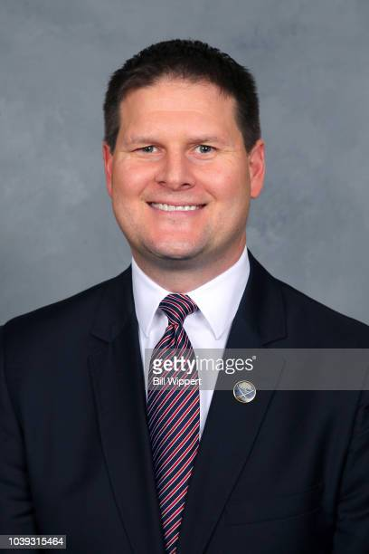 Jason Botterill of the Buffalo Sabres poses for his official headshot for the 2017-2018 season on September 14, 2017 at the KeyBank Center in...