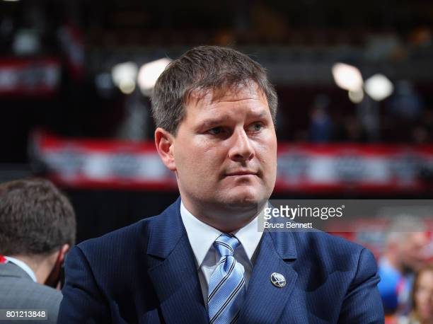 Jason Botterill of the Buffalo Sabres works the 2017 NHL Draft at the United Center on June 23, 2017 in Chicago, Illinois.
