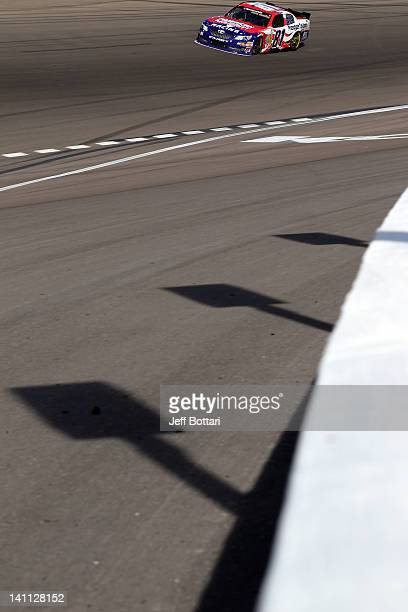 Jason Bowles driver of the American Majority Toyota drives during the NASCAR Nationwide Series Sam's Town 300 at Las Vegas Motor Speedway on March 10...