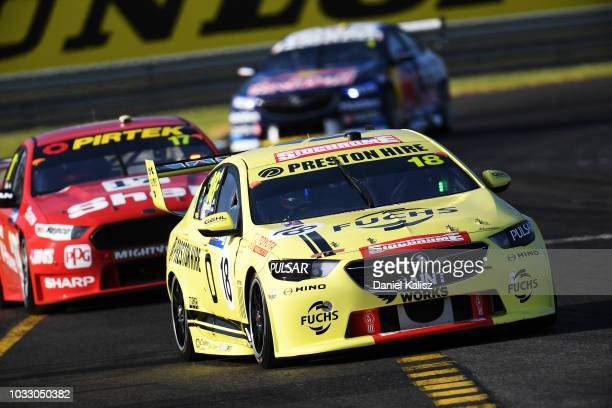 Jason Bright drives the Preston Hire Racing Holden Commodore ZB during practice for the Supercars Sandown 500 at Sandown International Motor Raceway...