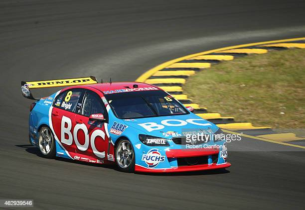 Jason Bright drives the Team BOC Holden during the 2015 V8 Supercars SuperTest at Sydney Motorsport Park on February 8 2015 in Sydney Australia