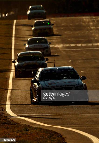 Jason Bright drives the Team BOC Holden during warmup for the Bathurst 1000 which is round 11 of the V8 Supercars Championship Series at Mount...