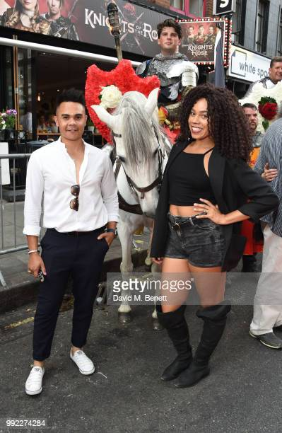 Jason Brock and Angelica Allen attend the press night performance of 'Knights Of The Rose' at The Arts Theatre on July 5 2018 in London England