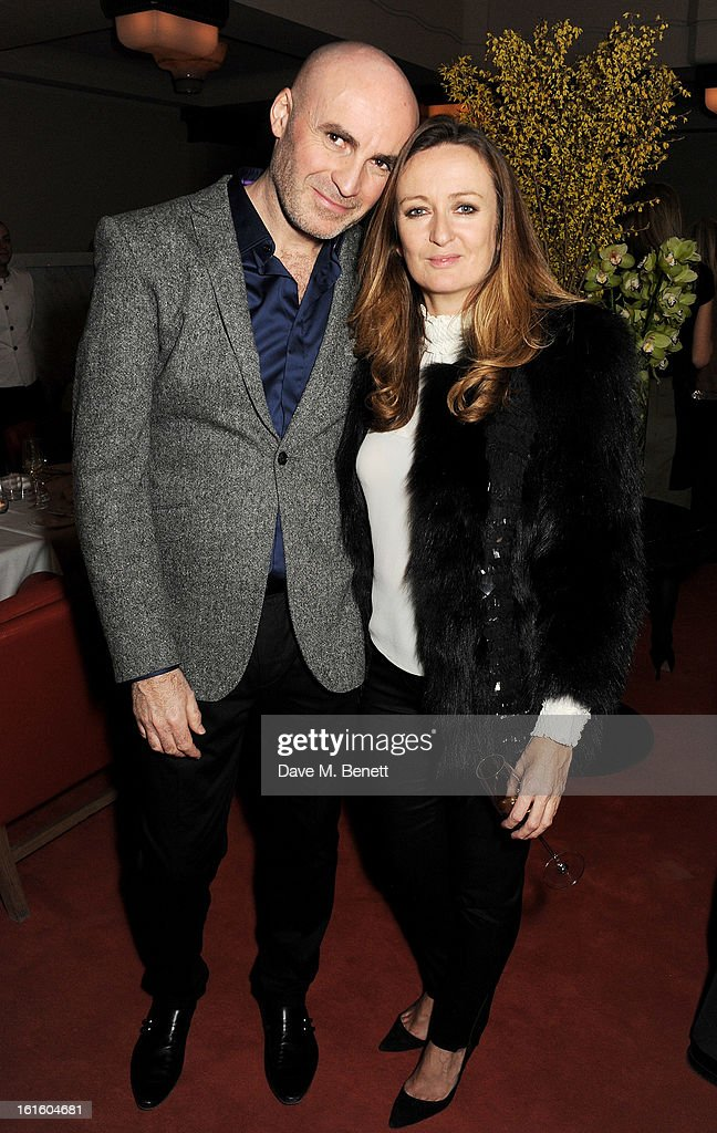 Jason Brooks (L) and Lucy Yeomans attend a private dinner hosted by Lucy Yeomans celebrating Jason Brooks at Cafe Royal on February 12, 2013 in London, England.