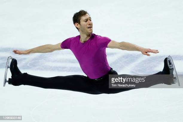 Jason Brown competes in the men's free skate program during the U.S. Figure Skating Championships at the Orleans Arena on January 17, 2021 in Las...