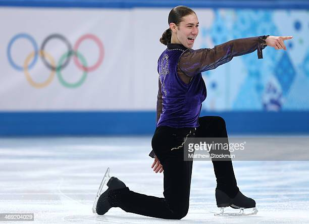 Jason Brown of the United States competes during the Men's Figure Skating Short Program on day 6 of the Sochi 2014 Winter Olympics at the at Iceberg...