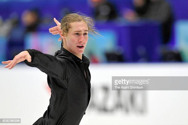 Jason Brown of the United States in action during a practice session prior to competing in Men's Singles free skating during day two of the ISU Grand...