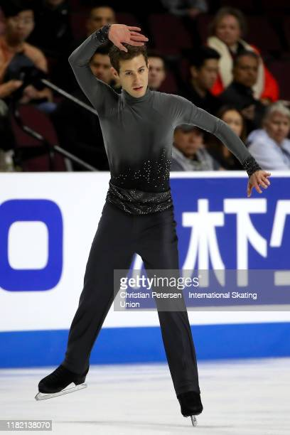 Jason Brown of the United States performs during men's free skating in the ISU Grand Prix of Figure Skating Skate America at the Orleans Arena on...