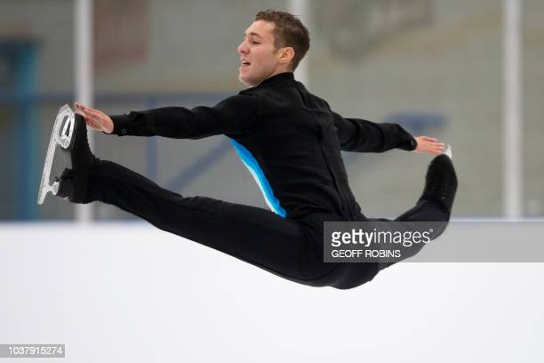 Jason Brown of the United States performs his free skate in the Men's competition at the 2018 Skate Canada Autumn Classic International event in...