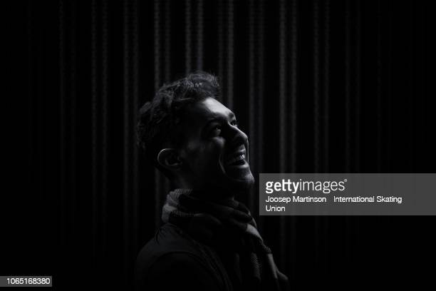 Jason Brown of the United States poses for a photo during day 3 of the ISU Grand Prix of Figure Skating Internationaux de France at Polesud Ice...