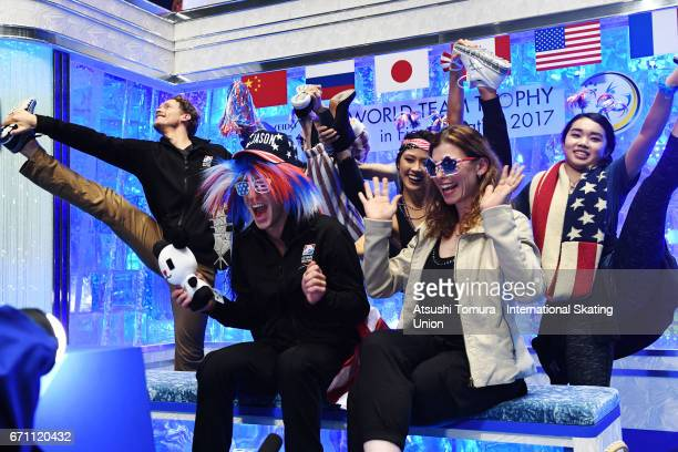Jason Brown of the USA react with his team mates at the kiss and cry after the Men free skating during the 2nd day of the ISU World Team Trophy 2017...