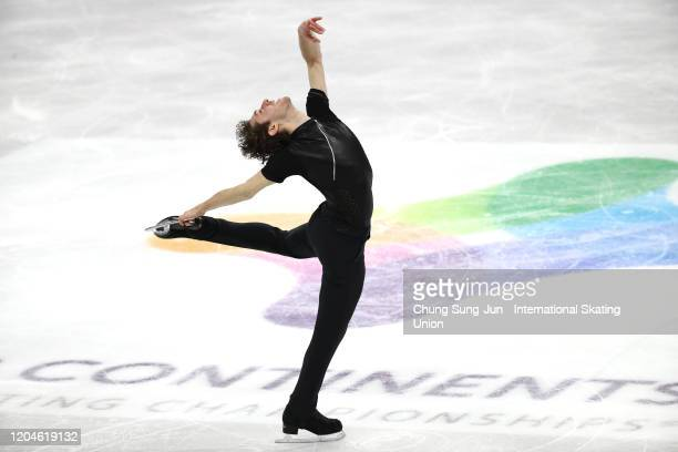 Jason Brown of United States performs in the Men Short Program during the ISU Four Continents Figure Skating Championships at Mokdong Ice Rink on...