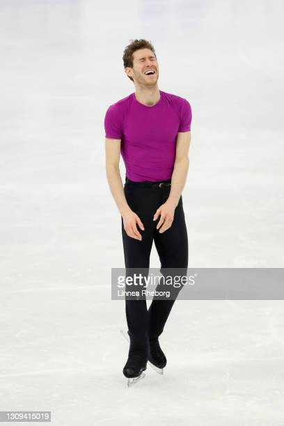 Jason Brown of United States reacts after his performance in Men Free Skating during day four of the ISU World Figure Skating Championships at...