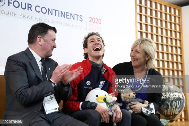 Jason Brown of United States reacts at the Kiss and Cry after performs in the Men Free Skating during the ISU Four Continents Figure Skating...