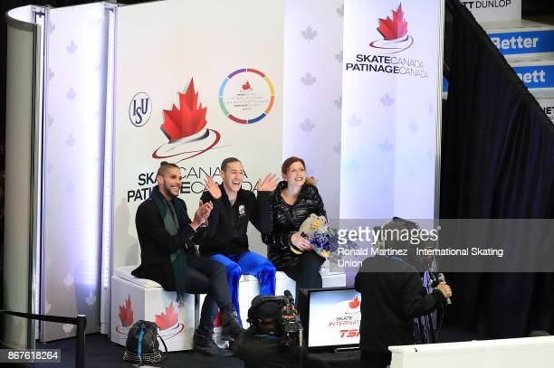 Jason Brown of USA reacts after his score in men free skating during the ISU Grand Prix of Figure Skating at Brandt Centre on October 28 2017 in...