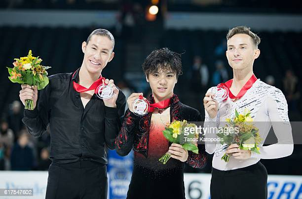 Jason Brown of USA second place Shoma Uno of Japan first place and Adam Rippon of USA third place winners in the men skating at 2016 Progressive...
