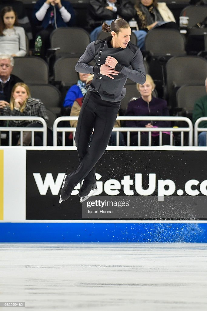 Jason Brown performs during his routine in the mens short program championship on Day 2 at the 2017 US Figure Skating Championships on January 20, 2017 at the Sprint Center in Kansas City, Missouri.