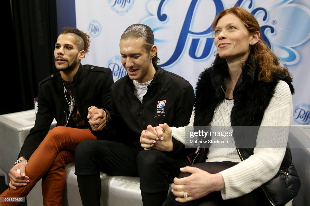 Jason Brown waits for his score in the kiss and cry with his choreographer Rohene Ward and coach Kori Ade after skating in the Men's Short Program during the 2018 Prudential U.S. Figure Skating Championships at the SAP Center on January 4, 2018 in San Jose, California.