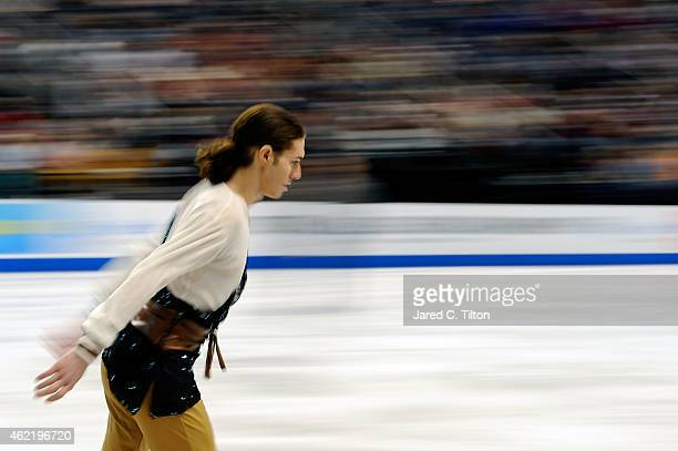 Jason Brown warms up prior to the Championship Men's Free Skate Program Competition during day 4 of the 2015 Prudential US Figure Skating...