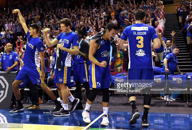 Jason Cadee of the Bullets and team mates celebrate victory during the round 18 NBL match between the Brisbane Bullets and the New Zealand Breakers...