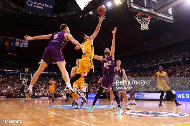 Jason Cadee of the Bullets lays up a shot during the round 21 NBL match between Sydney Kings and Brisbane Bullets at Qudos Bank Arena, on June 05 in...